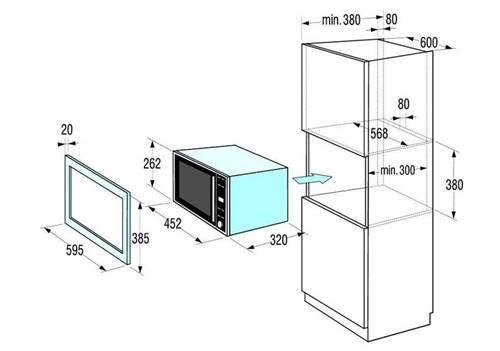 Стандартные размеры микроволновки (габариты микроволновой печи, свч) — встраиваемой, встроенной, маленькой только разогрева, отдельностоящей, для кухни, в сантиметрах, самсунг